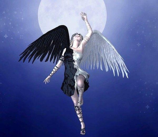 Ange mi noir mi blanc - Dessin ange noir et blanc ...